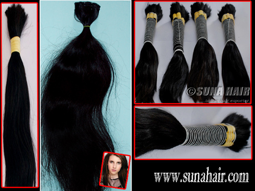 Hand tied weft mongolian natual remy bulk human hair