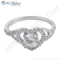Heart Shape Cubic Zirconia Silver Ring
