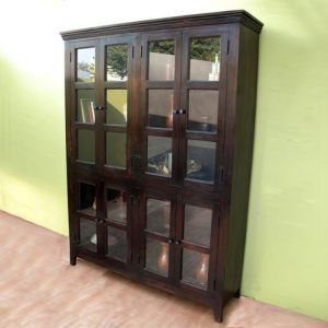 Wooden Glass Library Cabinet