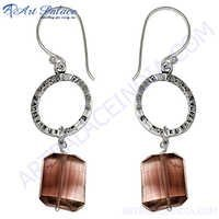 Smoky Quartz Stone Silver Earrings