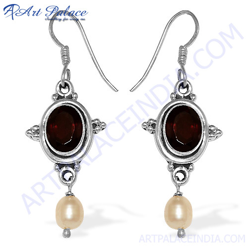 Indian Silver Garnet Pearl Earrings