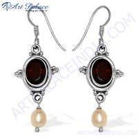 Indian Silver Garnet Pearl Earrings