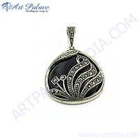 New Natural Marcasite Silver Pendant