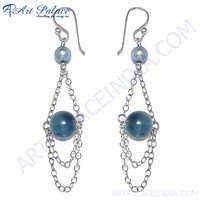 Festival Wear Blue Beads Silver Earring