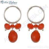 Fashionable Red Onyx Gemstone Earring