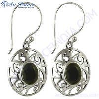 Silver Black Onyx Gemstone Earrings
