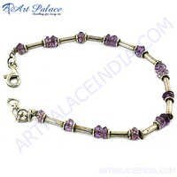 Purple Bead Silver Bracelet