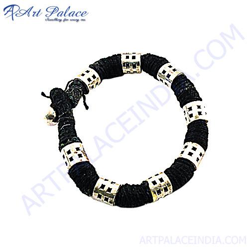 Black White Thread Silver Bracelet