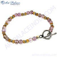 Purple & Yellow Bead Silver Bracelet