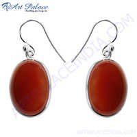 Designer Red Onyx Victorian Silver earrings