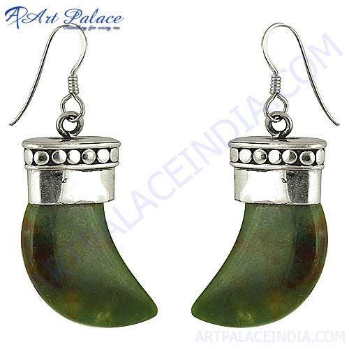 Designer Ethnic Gemstone Silver Earrings