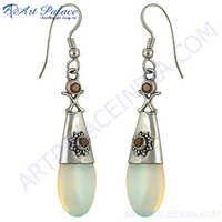 Garnet synthetic Gemstone Silver Earrings