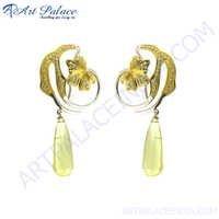 Party Wear Designer Gemstone Silver Earrings