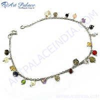 Multi Beaded Designe Silver Bracelet