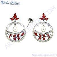 Designer Round Leaf Shape Gemstone Earrings