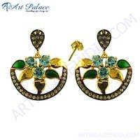 Designer Blue, White Topaz Stone Silver Earrings
