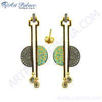 Diamond Gold Plated Silver Earrings