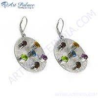 Petty Multi Garnet Stone Silver Earring
