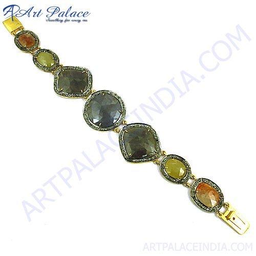 Blue & Yellow Sappire Victorian Bracelet