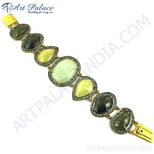Victorian Sappire Gold Plated Gems Stone Bracelet