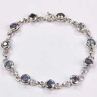 Blue Labradorite Silver Bracelet