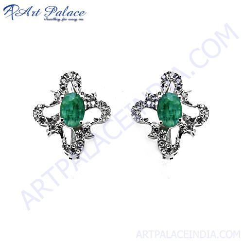 Party Wear CZ & Dyed Emerald Silver Earrings