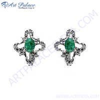 Party Wear CZ & Dyed Emerald Silver Earrings