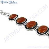 Red Onyx Modern Style Silver Bracelet