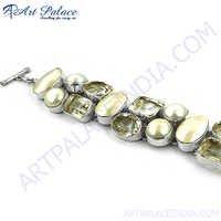 Crystal & Mabe Pearl Gemstone Silver Bracelet