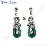 Royal Green Onyx & Gun Metal Silver Earring