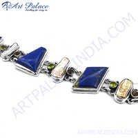Multi Gemstone Silver Bracelet