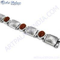 Antique Look Red Onyx Silver Bracelet