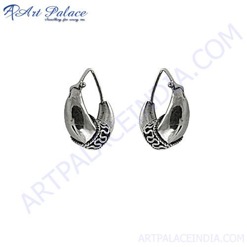 Indian Plain Silver Earring