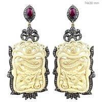 Gemstone Carving Earrings