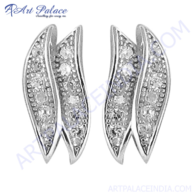 Latest 925 Sterling gemstone Silver Earring