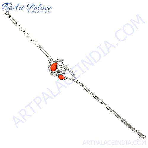 Romantic Pink Cz Silver Bracelet