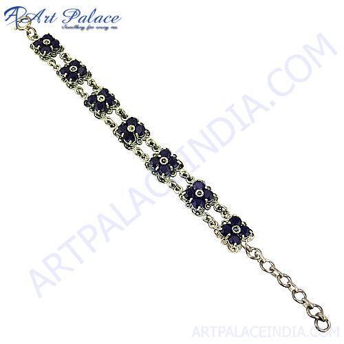 Blue Sandstone Marcasite Bracelet