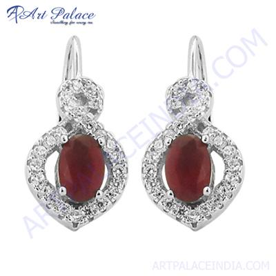 Impressive Pink CZ Gemstone Silver Earring