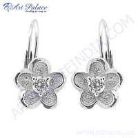 Flower Of Life CZ Silver Earring