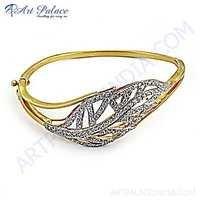 Leaf Charme CZ Silver Bracelet