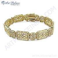 Gold Plated Cubic Zirconia Silver Bracelet