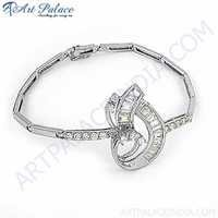 Romantic Style Cubic Zirconia Silver Bracelet