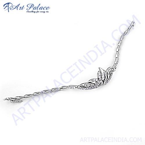 New Natural Theme Cz Silver Bracelet
