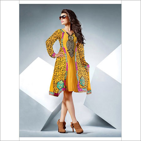 Yellow Embriodered Kurtis