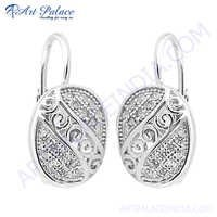 Top Quality CZ Silver Earring