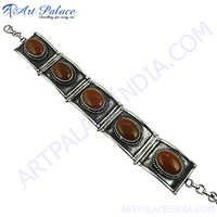 Antique Red Onyx Ethnic Silver Bracelet