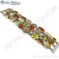 Hot Sale Fashion Gemstone Silver Bracelet