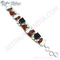 Black Onyx Pearl Gemstone Silver Bracelet