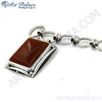 Red Onyx Trendy Charm Silver Bracelet