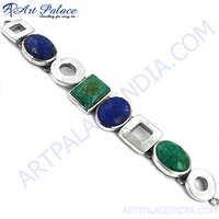 Lapis Lazuli And Terquoise Silver Bracelet
